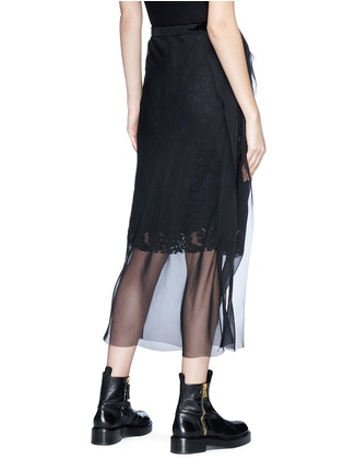 Back View - Click To Enlarge - Sacai - Chiffon overlay floral lace skirt