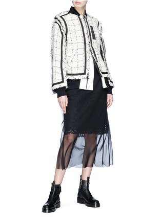 Figure View - Click To Enlarge - Sacai - Chiffon overlay floral lace skirt