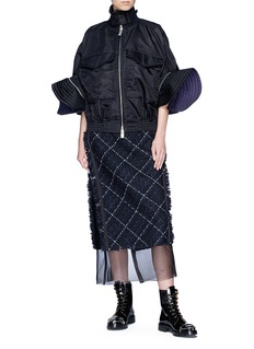 Sacai Puff sleeve side zip oversized jacket