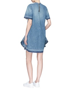 Sacai Quilted ruffle side zip denim dress