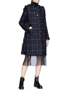 Sacai Organza hem underlay windowpane check tweed coat