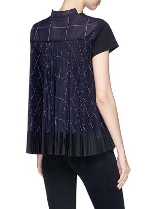 Back View - Click To Enlarge - Sacai - Check chiffon shirt back cotton T-shirt