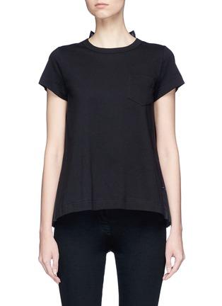 Main View - Click To Enlarge - Sacai - Check chiffon shirt back cotton T-shirt