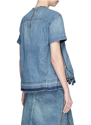 Back View - Click To Enlarge - Sacai - Quilted ruffle side zip denim top
