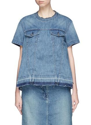 Main View - Click To Enlarge - Sacai - Quilted ruffle side zip denim top
