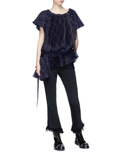 Sacai Check print plissé pleated top