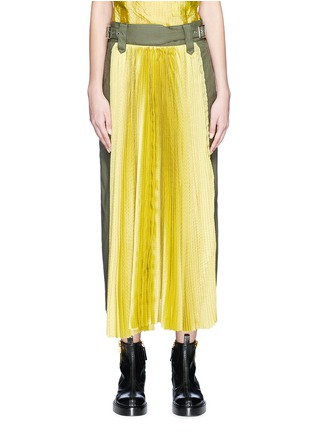 Main View - Click To Enlarge - Sacai - Belted panel outseam plissé pleated skirt