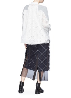 Sacai Heart broderie anglaise fringe back cardigan