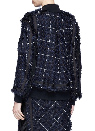 Back View - Click To Enlarge - Sacai - Windowpane check tweed bomber jacket