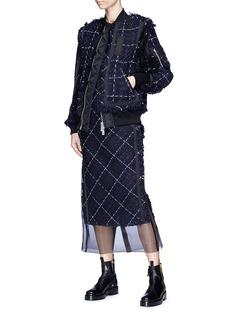 Sacai Windowpane check tweed bomber jacket