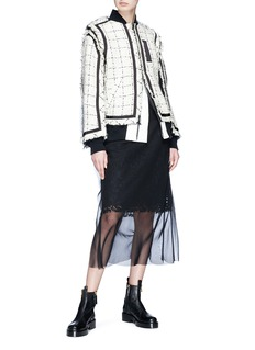 Sacai Windowpane check tweed bomber jacket