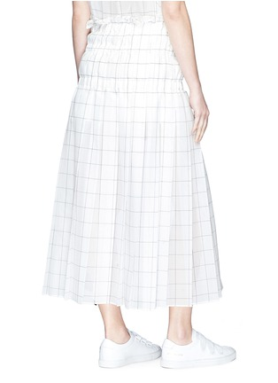 Back View - Click To Enlarge - Sacai - Belted ruched windowpane check wrap skirt