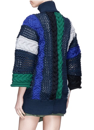 Back View - Click To Enlarge - Sacai - Mixed knit patchwork zip cardigan