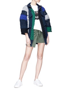 Sacai Mixed knit patchwork zip cardigan