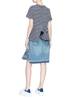 Sacai Quilted ruffle zip back stripe T-shirt