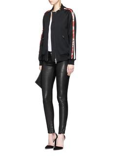 Alexander McQueenFloral print stripe sleeve bomber jacket