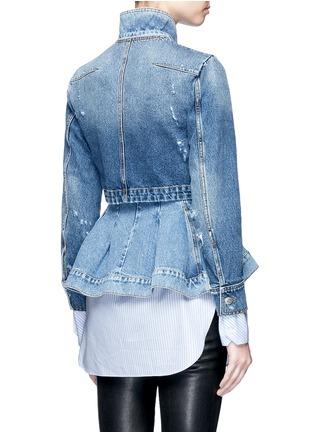 Back View - Click To Enlarge - Alexander McQueen - Double layered peplum denim jacket