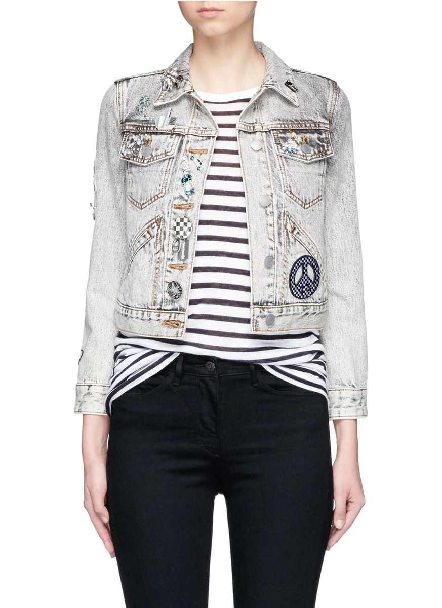 marc jacobs female embellished bleached denim shrunken jacket