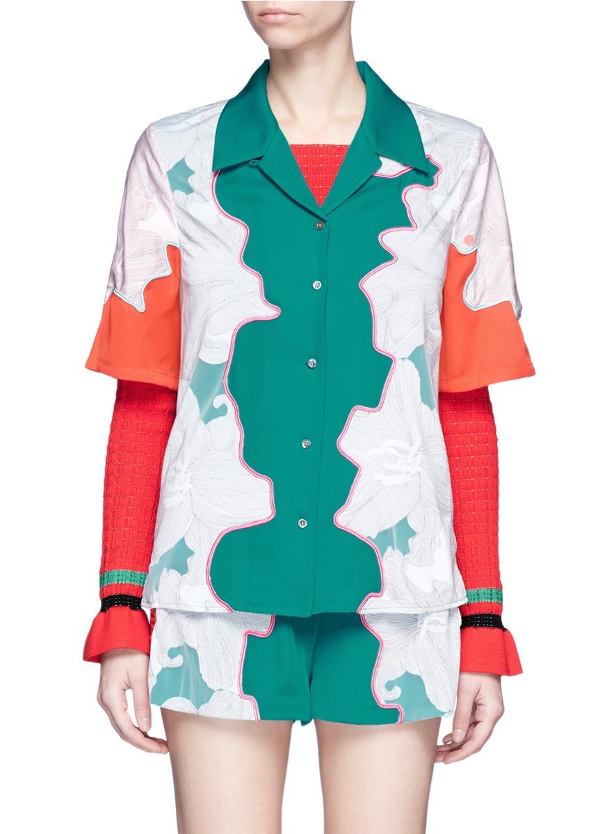 Floral surf colourblock silk shirt by 3.1 Phillip Lim