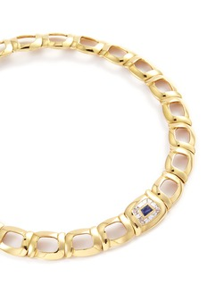 Mellerio 'Colbeau' diamond sapphire 18k yellow gold link necklace
