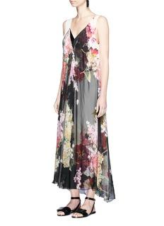 LanvinFloral print chiffon overlay silk dress