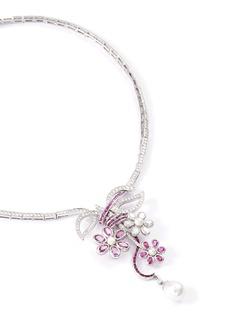 Mellerio 'Marie Antoinette' diamond sapphire pearl floral pendant necklace