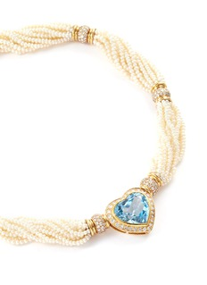Mellerio Diamond topaz 18k yellow gold bead heart pendant necklace
