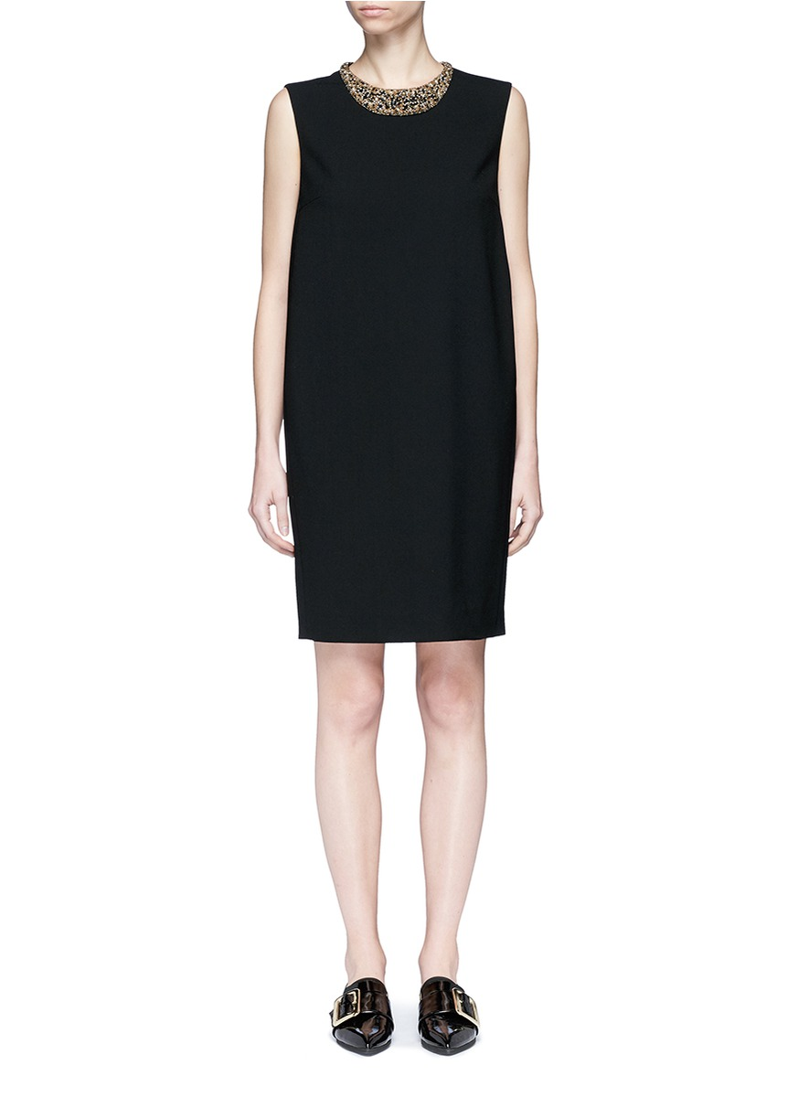 Embellished collar sleeveless wool dress by Lanvin