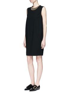 LanvinEmbellished collar sleeveless wool dress