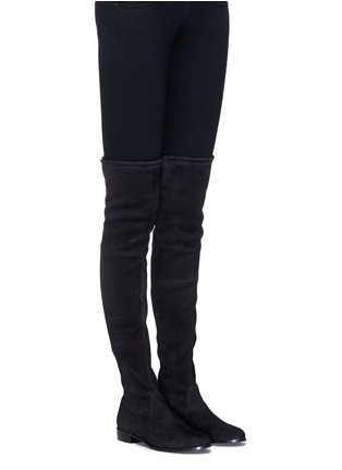 Figure View - Click To Enlarge - Stuart Weitzman - 'Low Land' stretch suede thigh high boots