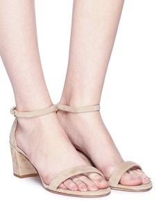 STUART WEITZMAN Simple绒面真皮粗跟凉鞋