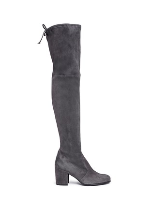Main View - Click To Enlarge - Stuart Weitzman - 'Tie Land' stretch suede thigh high boots