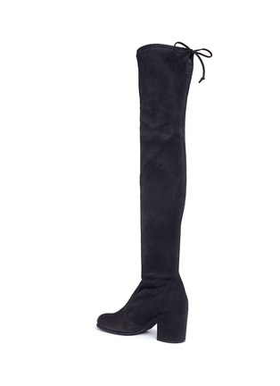 Detail View - Click To Enlarge - Stuart Weitzman - 'Tie Land' stretch suede thigh high boots
