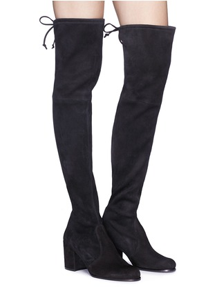 Figure View - Click To Enlarge - Stuart Weitzman - 'Tie Land' stretch suede thigh high boots