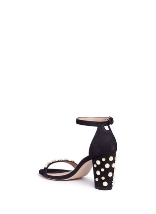 Detail View - Click To Enlarge - Stuart Weitzman - 'Bing Pearls' embellished suede sandals