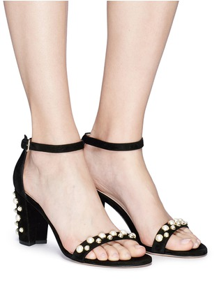 Figure View - Click To Enlarge - Stuart Weitzman - 'Bing Pearls' embellished suede sandals