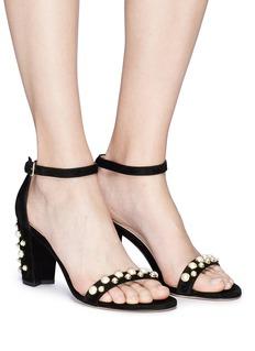 STUART WEITZMAN Bing pearls人造珍珠绒面真皮粗跟凉鞋