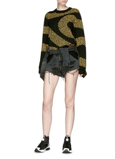 Double Rainbouu 'Amnesia' wavy net embroidered Merino wool sweater