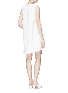 Comme Moi Fringed windowpane check crepe shift dress