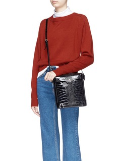 MANU Atelier 'Pristine' mini croc embossed patent leather crossbody bag