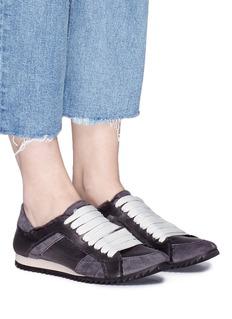Pedro García 'Cristina' suede trim silk satin sneakers