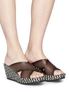 Pedro García 'Fiamma' zigzag espadrille platform leather sandals