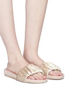 Pedro García Silk satin ruched slide sandals