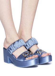 Pedro García 'Dama' Swarovski crystal satin platform sandals