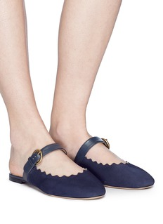 Chloé 'Lauren' scalloped suede Mary Jane slides
