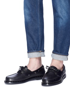 Valentino 'Soul Rockstud' ribbon calfskin leather loafers