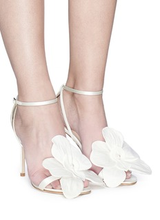 Jimmy Choo 'Aurelia 100' orchid appliqué satin sandals