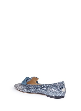 Detail View - Click To Enlarge - Jimmy Choo - 'Gabie Flat' suede bow dégradé glitter loafers