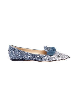 Main View - Click To Enlarge - Jimmy Choo - 'Gabie Flat' suede bow dégradé glitter loafers