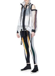No Ka'Oi 'Mile' stripe sleeve hooded cold shoulder jacket